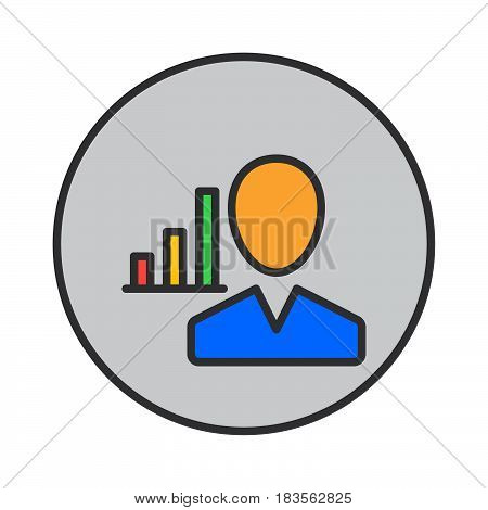 User and chart filled outline icon round colorful vector sign circular pictogram. Symbol logo illustration