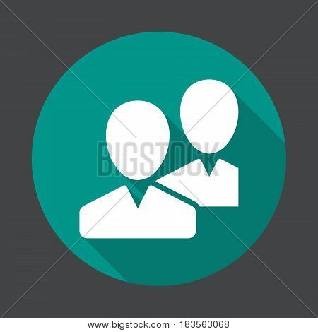 Community users friends flat icon. Round colorful button circular vector sign with long shadow effect. Flat style design