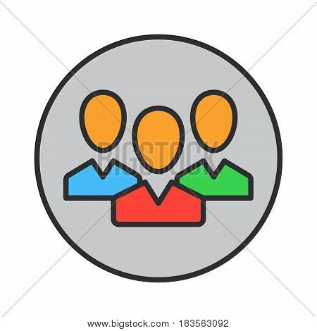 People team filled outline icon round colorful vector sign circular pictogram. Symbol logo illustration