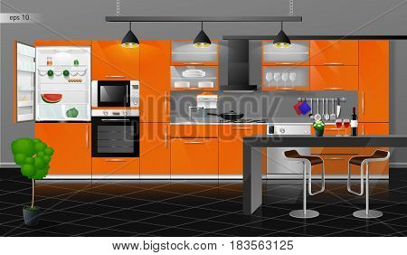 Modern interior of the orange kitchen. Vector illustration. Household kitchen appliances cabinets, shelves, gas stove, cooker hood, refrigerator, microwave, dishwasher, cookware