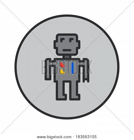 Robot filled outline icon round colorful vector sign circular pictogram. Symbol logo illustration
