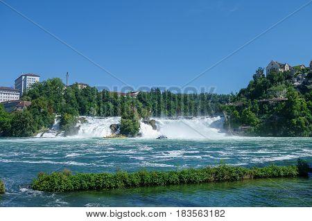 The Rhine Falls is the largest waterfall in Europe Schaffhausen Switzerland.