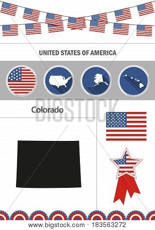 Map of Colorado. Set of flat design icons nfographics elements with American symbols.