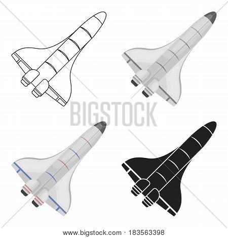 Space shuttle icon in cartoon style isolated on white background. Space symbol vector illustration.