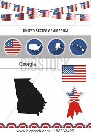 Map of Georgia. Set of flat design icons nfographics elements with American symbols.