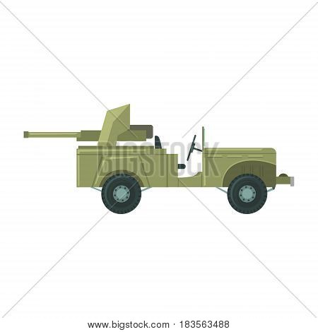 Military car with an artillery cannon. Military combat vehicle vector Illustration isolated on a white background