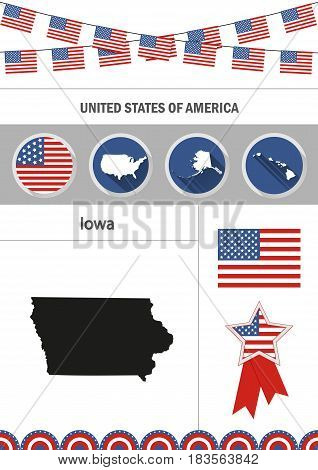 Map of Iowa. Set of flat design icons nfographics elements with American symbols.