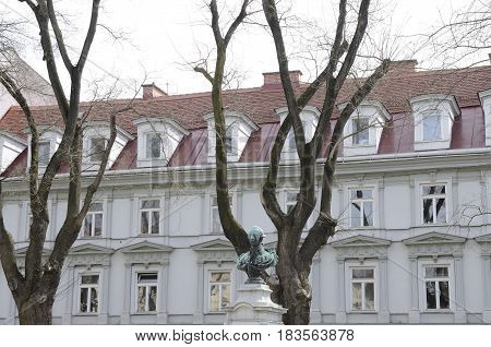 GRAZ, AUSTRIA - MARCH 20, 2017: Memorial monument to Joseph II and residential building located in Graz the capital of federal state of Styria Austria.