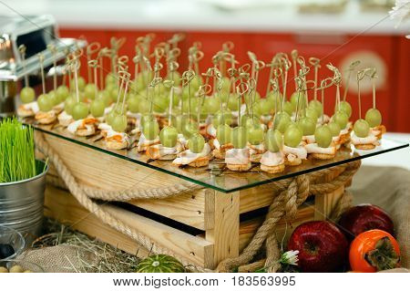 Canape, Canape on the table event, service restaurant,