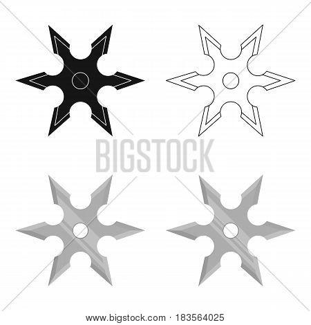 Metal shuriken icon cartoon. Single weapon icon from the big ammunition, arms cartoon.