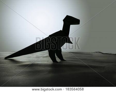 Dinosaur silhouette in prehistoric environment in decorative background abstract ice age illustration