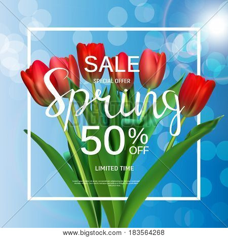 Floral Abstract Design Spring Sale Banner Template with Tulips Vector Illustration EPS10