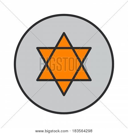 Star of David filled outline icon round colorful vector sign circular flat pictogram. Symbol logo illustration