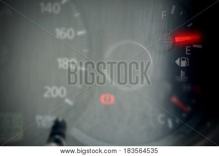 Fuel red gauge showing and almost empty tank