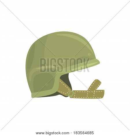 Khaki military helmet. Metallic army symbol of defens vector Illustration isolated on a white background