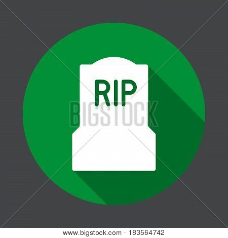 Tomb headstone flat icon. Round colorful button circular vector sign with long shadow effect. Flat style design