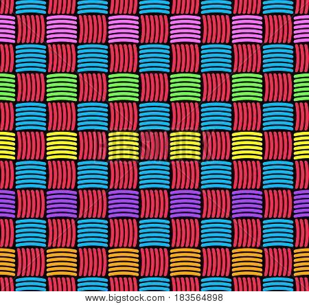 Abstract decorative weaved seamless background. Colorful wickerwork pattern. 90's colors.