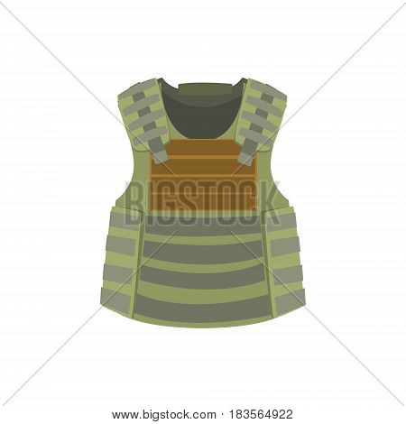 Khaki bulletproof vest. Colorful vector Illustration isolated on a white background