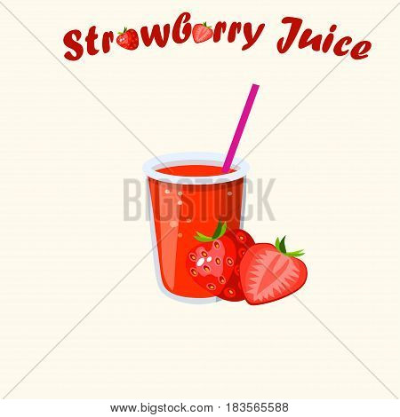 Very high quality original trendy vector illustration of strawberry juice with whole and cut sweet strawberry