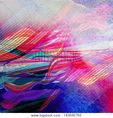 Bright watercolor graphic multicolored abstraction of fantastic waves