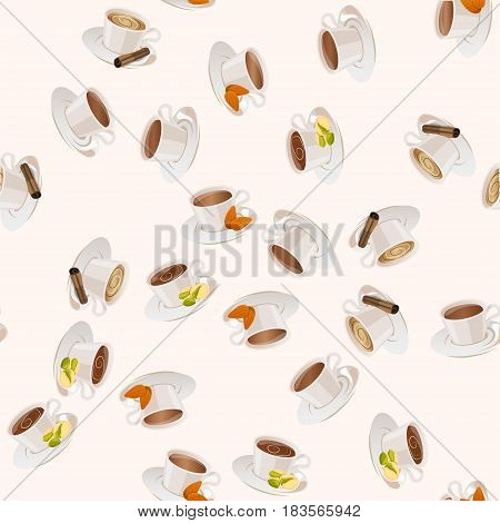 Very high quality original trendy vector seamless pattern with pistachio , vanilla, almonds, and cinnamon hot chocolate cup