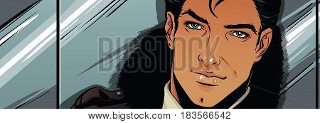 Handsome man in the lift. Color vector illustration.