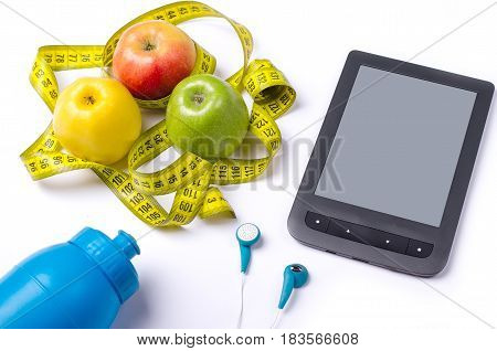 A Healthy Diet, Fresh Apples And A Measuring Tape.