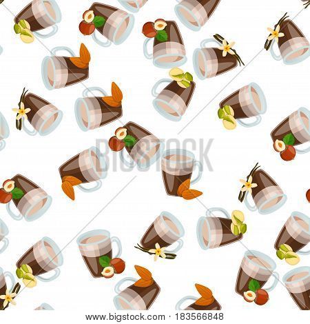 Very high quality original trendy vector seamless pattern with hazelnut, almonds, almonds and pistachio hot chocolate cup