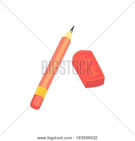 Red pencil and eraser. Artistic or school equipment colorful cartoon vector Illustration isolated on a white background
