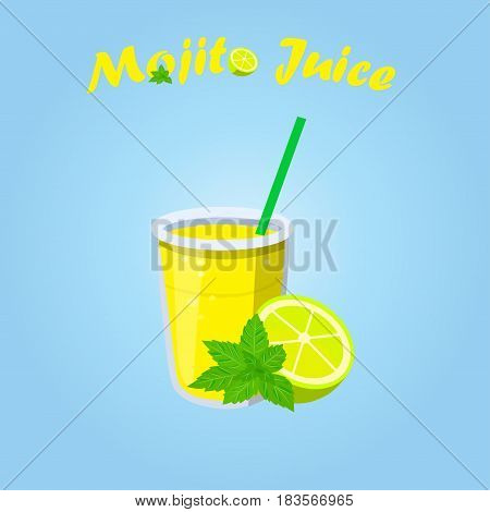 Very high quality original trendy vector illustration of mojito juice with lemon and mint