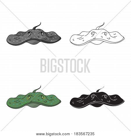 Stingray icon in cartoon design isolated on white background. Sea animals symbol stock vector illustration.