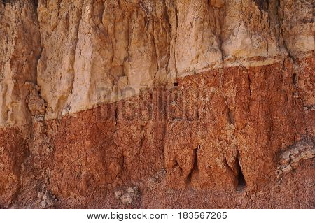 Layers of clay soil as a brown background texture.