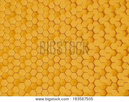3d illustration of yellow plastic hexagonal honeycombs nano background
