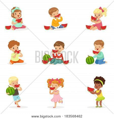 Cute little kids eating watermelon. Healthy eating, snack for children. Cartoon detailed colorful Illustrations isolated on white background