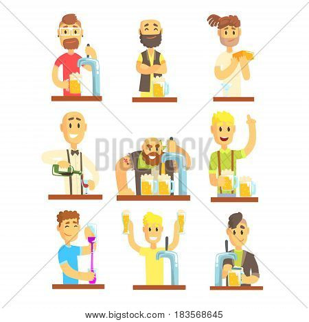 Barman mixing, pouring, opening and garnishing alcohol drinks set for label design. Cheerful smiling bartender serves at the bar. Colorful cartoon detailed vector Illustrations isolated on white background