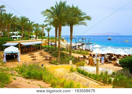 Sharm El Sheikh, Egypt - April 11, 2017: Buildings and Area of Four Seasons Resort Sharm El Sheikh in Sharm El Sheikh, Popular Center of a Beach Holiday and Diving, Red Sea, Summer, Egypt on April 11, 2017