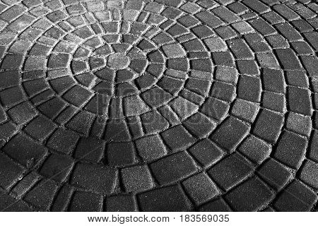 Background Gray Circular Paving Slabs. Paving Slabs, Laid Out In Circles In The City Park Of Rest