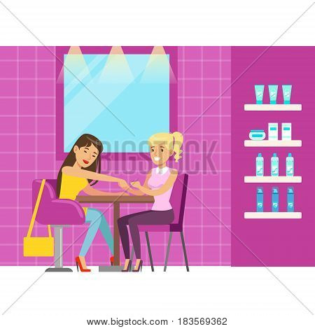 Woman getting a hand massage in beauty salon. Colorful cartoon character vector Illustration