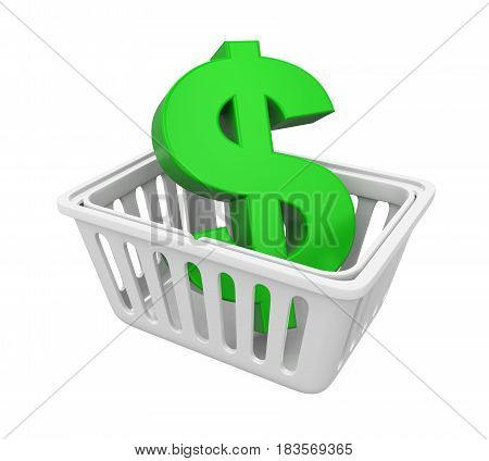 Shopping Basket with Dollar Sign isolated on white background. 3D render
