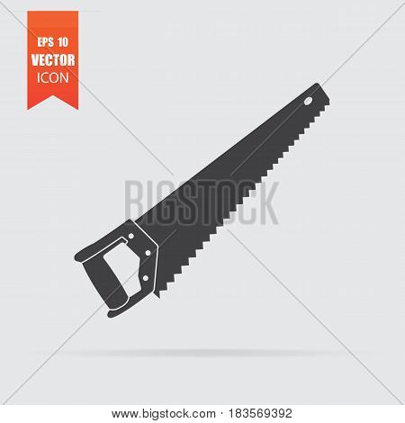 Hacksaw Icon In Flat Style Isolated On Grey Background.