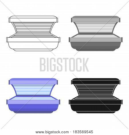 Tanning bed icon in cartoon style isolated on white background. Skin care symbol vector illustration.