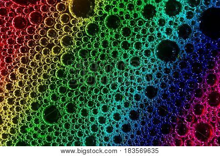 Foam bubble from soap or shampoo washing rainbow abstract macro focus freshness
