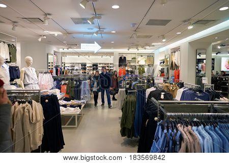 SAINT PETERSBURG, RUSSIA - CIRCA APRIL, 2017: inside a H & M store at Galeria shopping center.