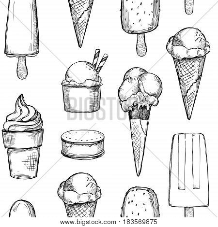 Hand Drawn Vector Background - Collection Of Ice Cream. Sweet Seamless Pattern. Illustrations In Ske