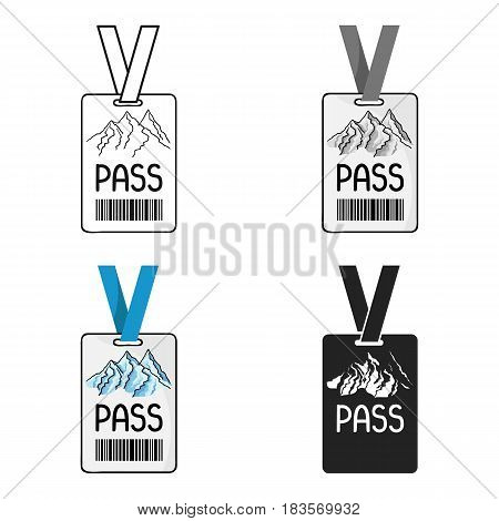 Ski pass icon in cartoon style isolated on white background. Ski resort symbol vector illustration.