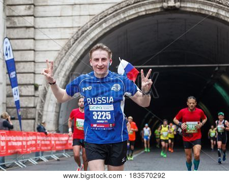 Rome Italy - April 2 2017: Russian Athlete at the 23rd Marathon of Rome in the tunnel Umberto I just a few kilometers from the end.