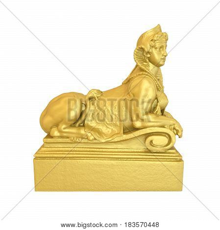 Sphinx Statue isolated on white background. 3D render