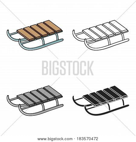 Sled icon in cartoon style isolated on white background. Ski resort symbol vector illustration.