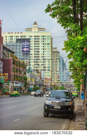 BANGKOK THAILAND - FEB 20 2015: Street on the outskirts of Bangkok. The streets on the outskirts of this metropolisnot loaded as in the center