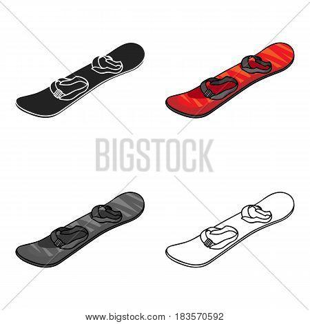 Snowboarding icon in cartoon style isolated on white background. Ski resort symbol vector illustration.
